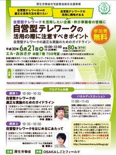 厚生労働省「在宅就業者総合支援事業」自営型テレワークの活用の際に注意すべきポイント in大阪(2018年度:第2回)