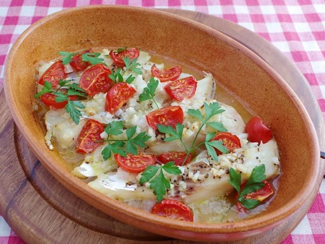 白身魚とミニトマトのオーブン焼き