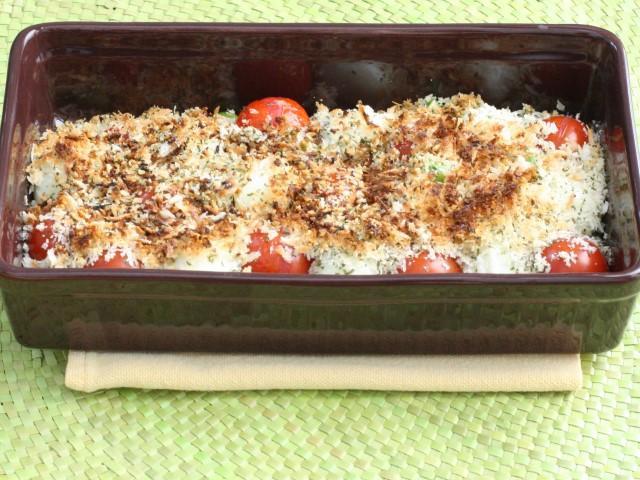 ミニトマトと枝豆のパン粉焼き
